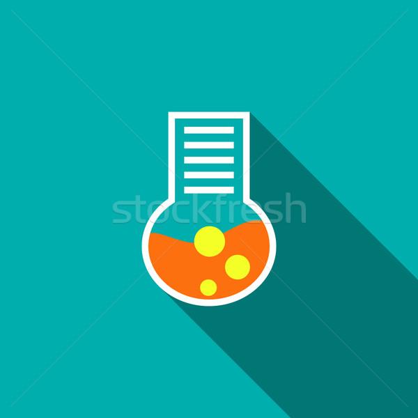 химического лаборатория колба икона стиль красный Сток-фото © ylivdesign