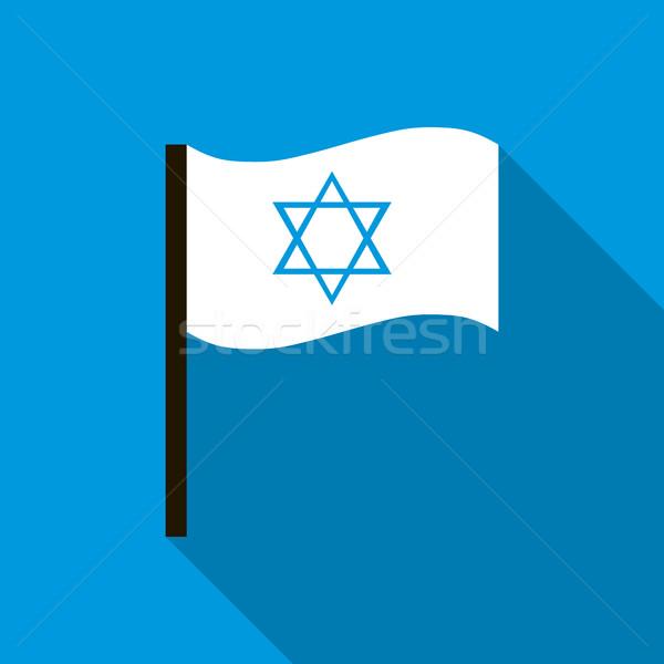 белый флаг звездой икона стиль синий Сток-фото © ylivdesign