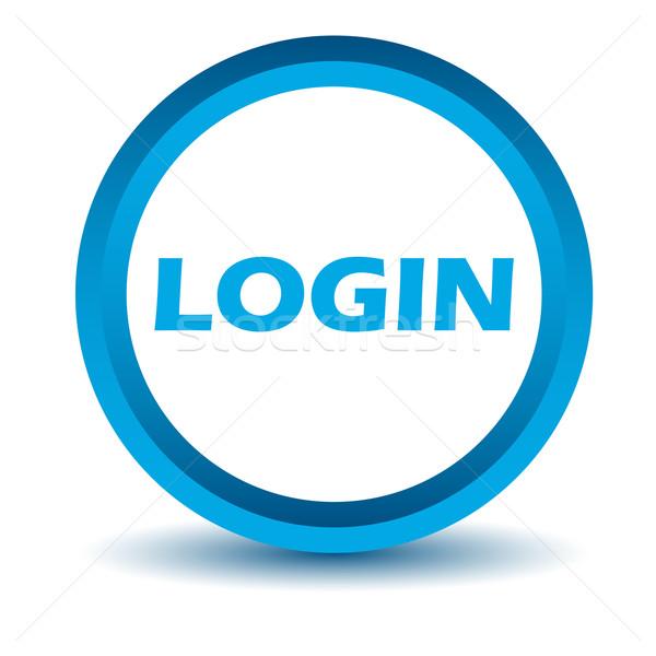 Azul login ícone branco botão www Foto stock © ylivdesign