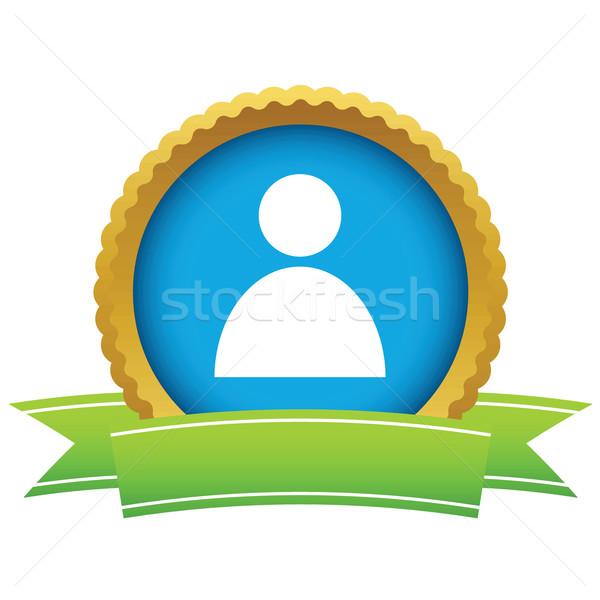 Gold user profile logo Stock photo © ylivdesign