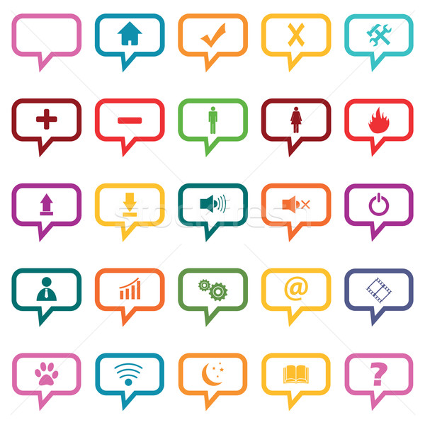 Colored dialog icon set Stock photo © ylivdesign