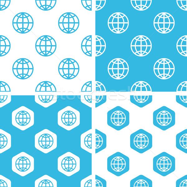 Foto d'archivio: Mondo · modelli · set · semplice · esagono · blu
