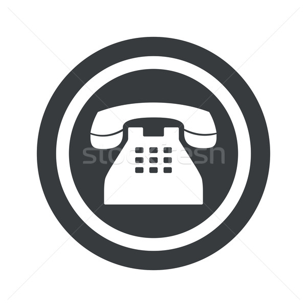Round black phone sign Stock photo © ylivdesign