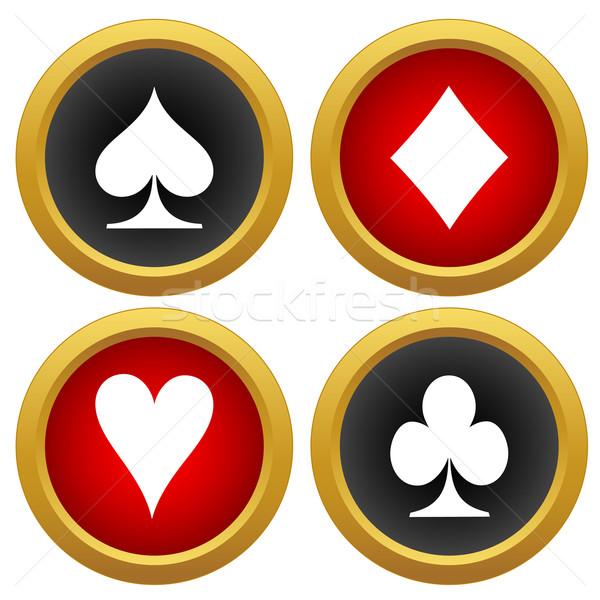 Carte da gioco icone vettore bianco design segno Foto d'archivio © ylivdesign