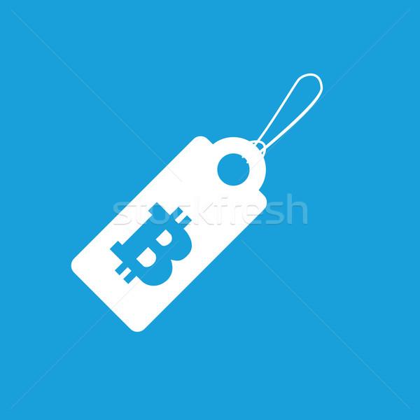 Bitcoin ár ikon kép fonal címke Stock fotó © ylivdesign