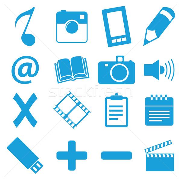 Egyedi kék ikon szett izolált fehér üzlet Stock fotó © ylivdesign