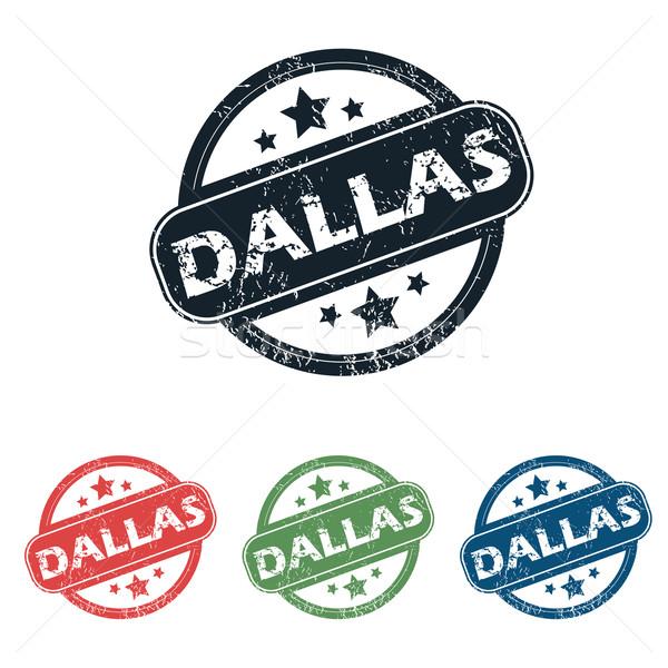 Dallas stad stempel ingesteld vier postzegels Stockfoto © ylivdesign