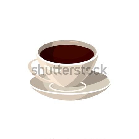 Copo café ícone desenho animado estilo branco Foto stock © ylivdesign