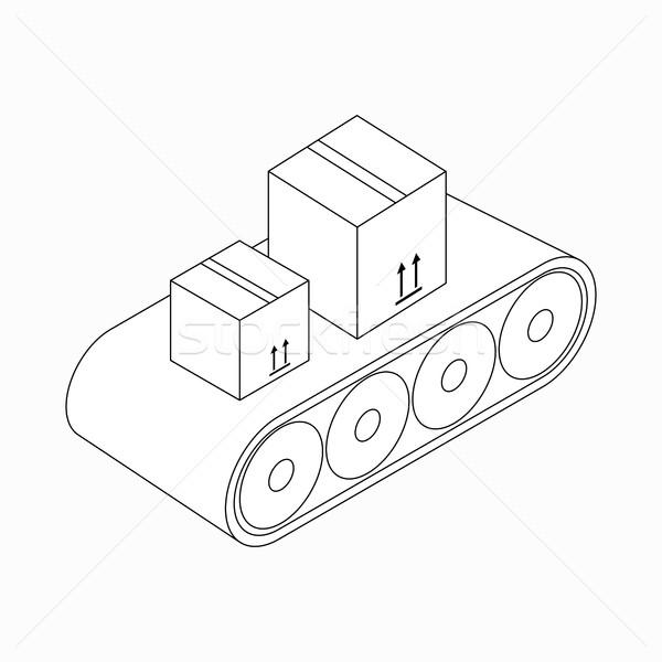 Conveyor belt with boxes icon, isometric 3d style Stock photo © ylivdesign