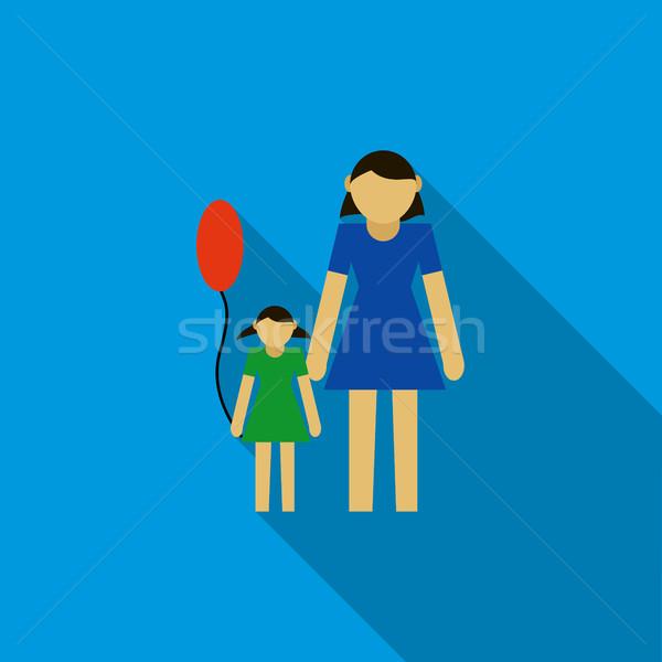 Moeder dochter icon stijl Blauw vrouw Stockfoto © ylivdesign