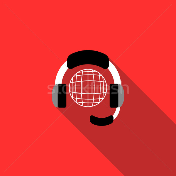 Wereldbol hoofdtelefoon icon stijl Rood technologie Stockfoto © ylivdesign