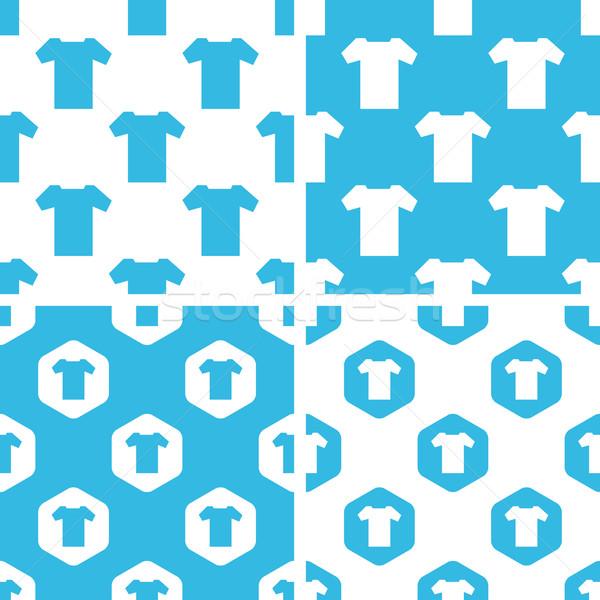 футболки структур набор простой шестиугольник синий Сток-фото © ylivdesign