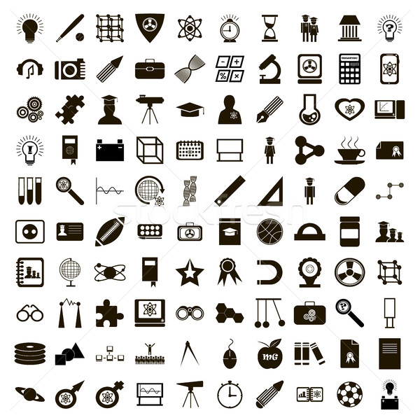 100 education icons set, simple style Stock photo © ylivdesign