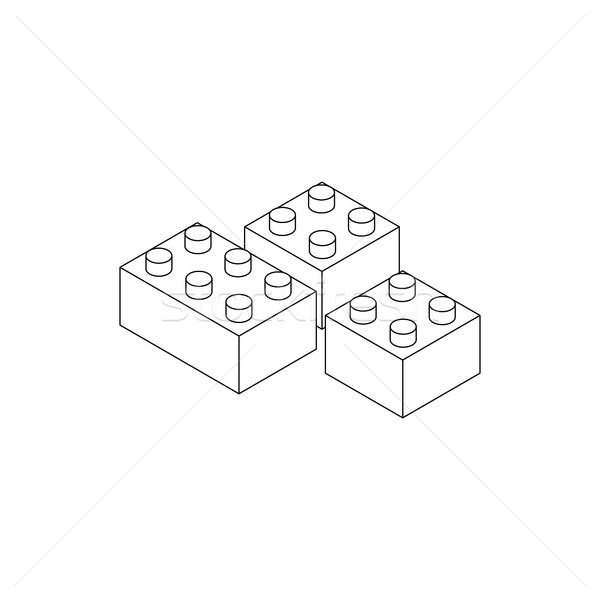 Building connector bricks icon, isometric 3d style Stock photo © ylivdesign