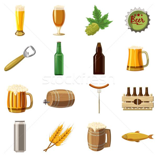 Foto stock: Cerveza · Cartoon · estilo · aislado · blanco