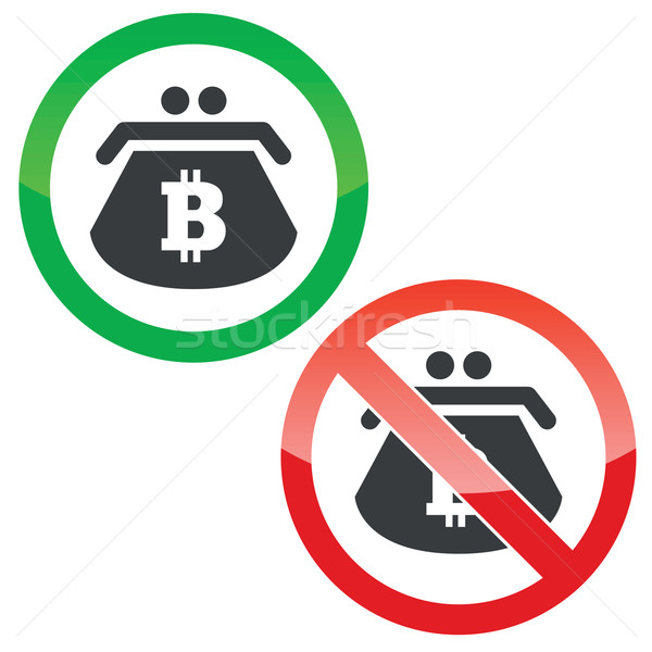 Bitcoin purse permission signs set Stock photo © ylivdesign