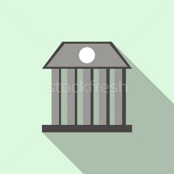 Bank building icon, flat style  Stock photo © ylivdesign