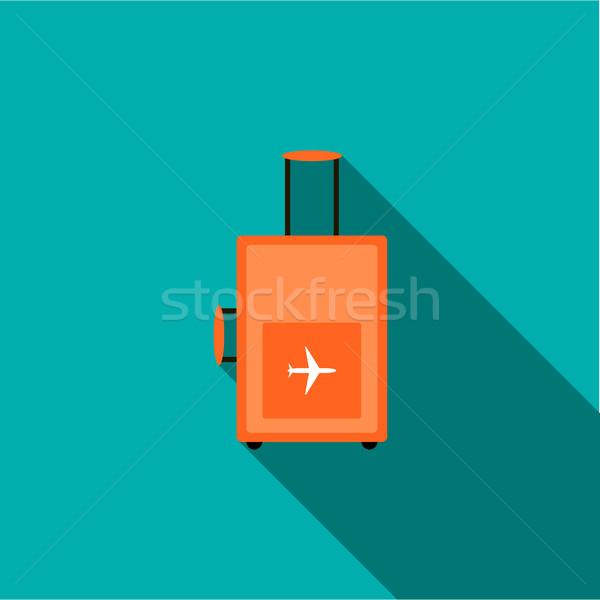 чемодан Колеса икона стиль долго тень Сток-фото © ylivdesign