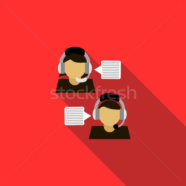 Customer service operators icon, flat style Stock photo © ylivdesign