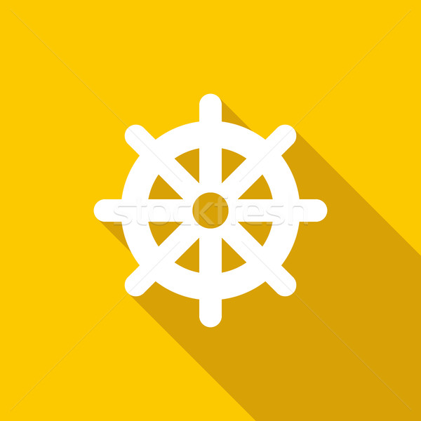 Wheel of Dharma icon, flat style  Stock photo © ylivdesign