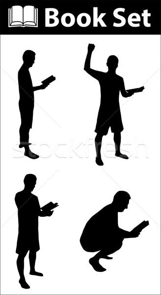 Book silhouette set Stock photo © ylivdesign