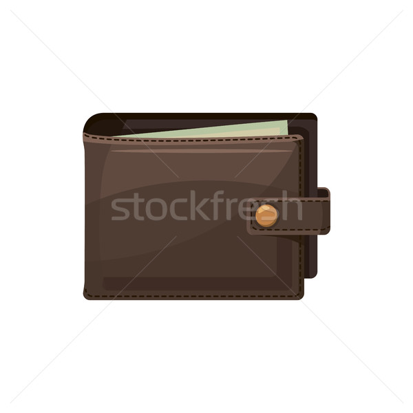 Kahverengi cüzdan ikon karikatür stil beyaz Stok fotoğraf © ylivdesign