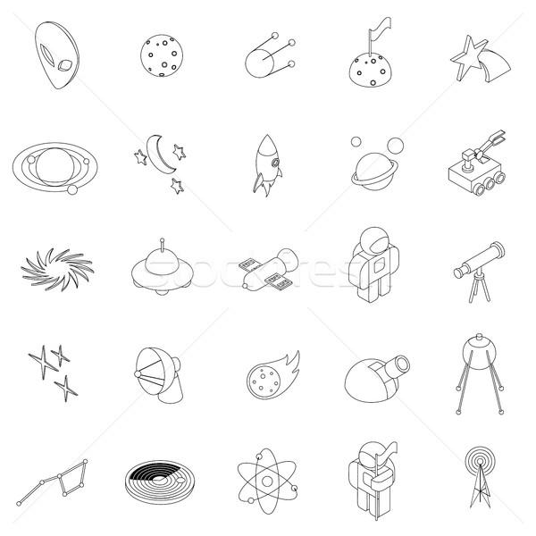 Stock fotó: űr · ikon · szett · izometrikus · 3D · stílus · izolált
