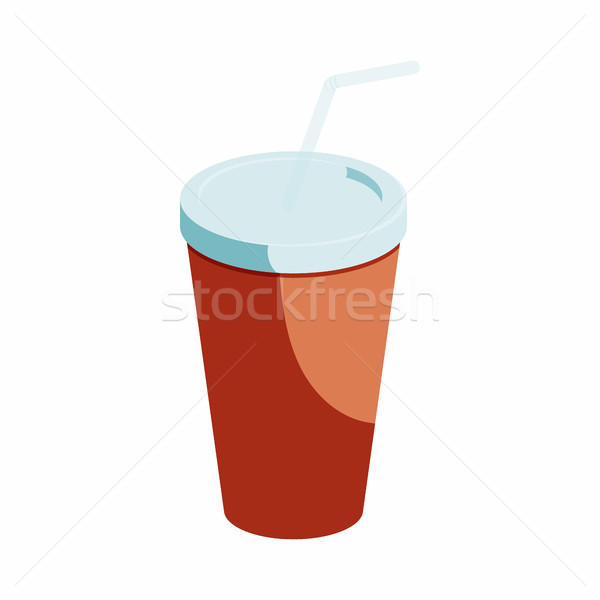 Kırmızı kâğıt fincan saman ikon karikatür Stok fotoğraf © ylivdesign