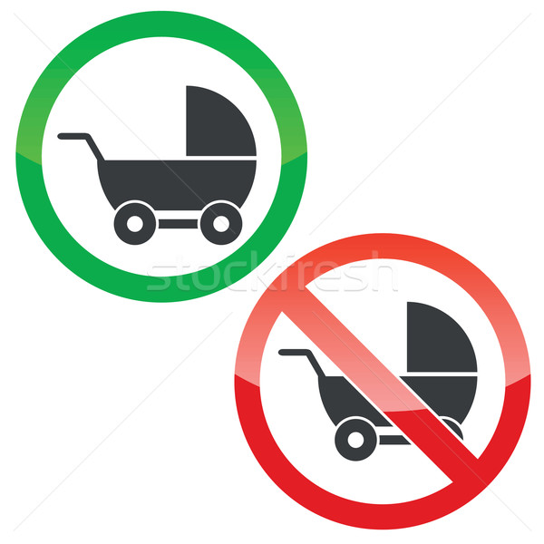 Pram permission signs set Stock photo © ylivdesign