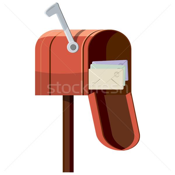 Mailbox icon cartoon stijl geïsoleerd witte Stockfoto © ylivdesign