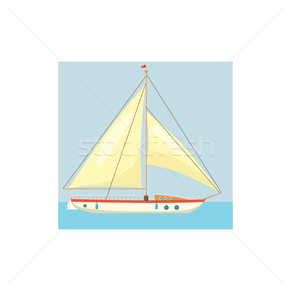 Jacht witte icon cartoon stijl water Stockfoto © ylivdesign