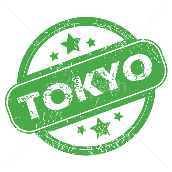 Tokio groene stempel naam sterren Stockfoto © ylivdesign