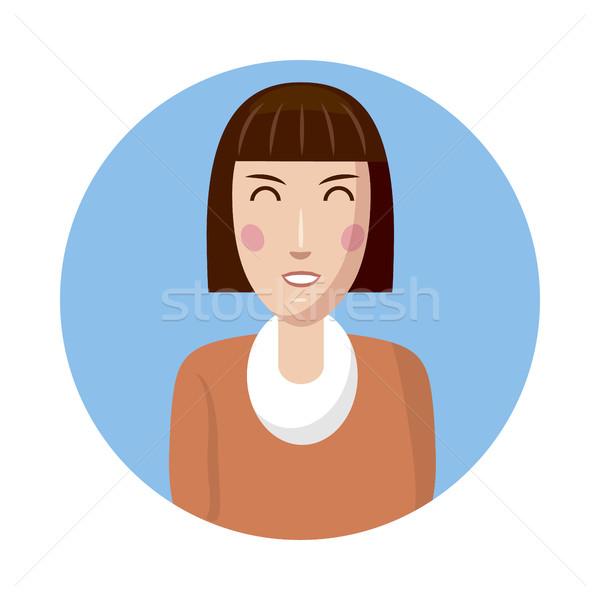 Vrouw avatar icon cartoon stijl geïsoleerd Stockfoto © ylivdesign