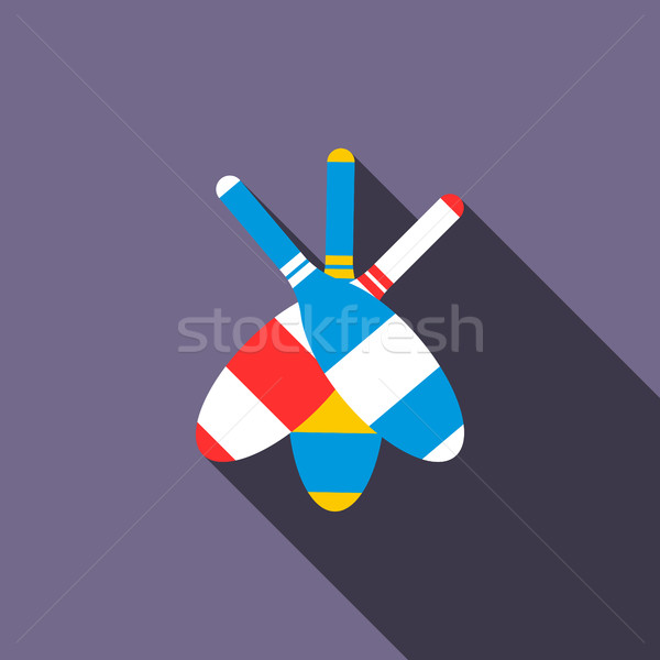 Juggling clubs icon, flat style Stock photo © ylivdesign