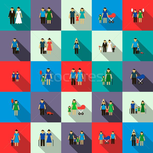 Familie ingesteld iconen stijl geïsoleerd witte Stockfoto © ylivdesign