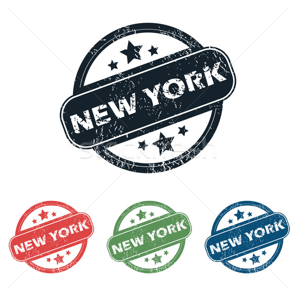 Round New York stamp set Stock photo © ylivdesign