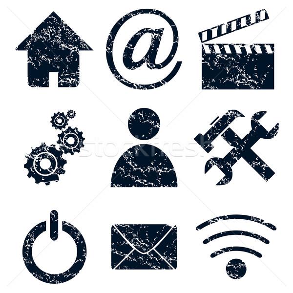 Home internet pictogrammen ingesteld grunge zwart wit web Stockfoto © ylivdesign