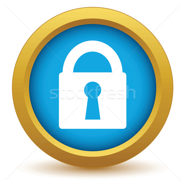 Gold lock icon Stock photo © ylivdesign