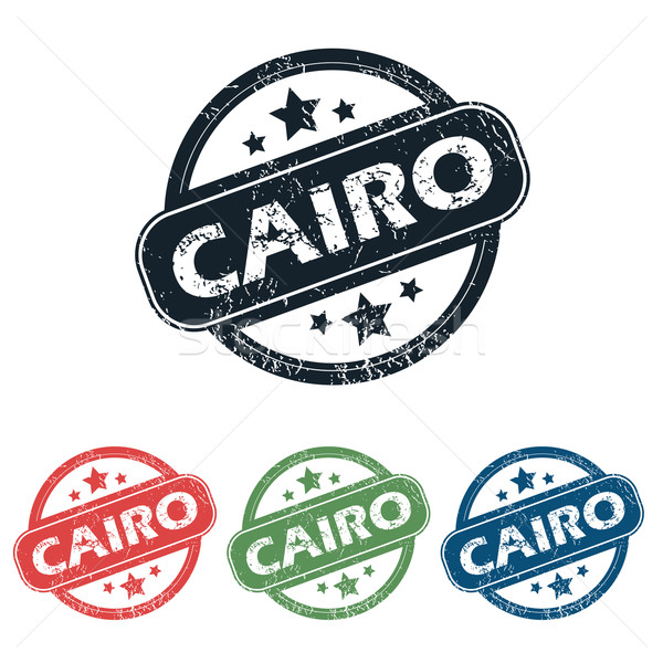 Round Cairo city stamp set Stock photo © ylivdesign