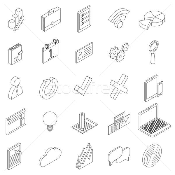 Office equipment icons set, isometric 3d style Stock photo © ylivdesign