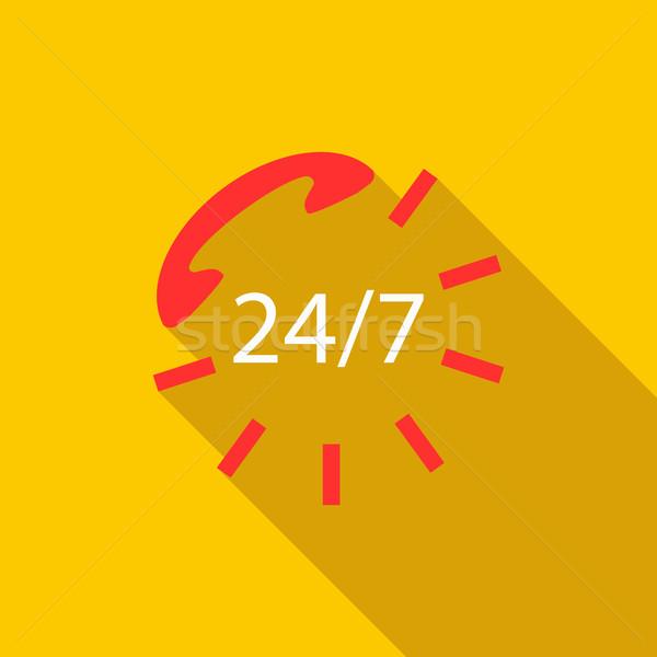 24 hizmet imzalamak ikon stil sarı Stok fotoğraf © ylivdesign