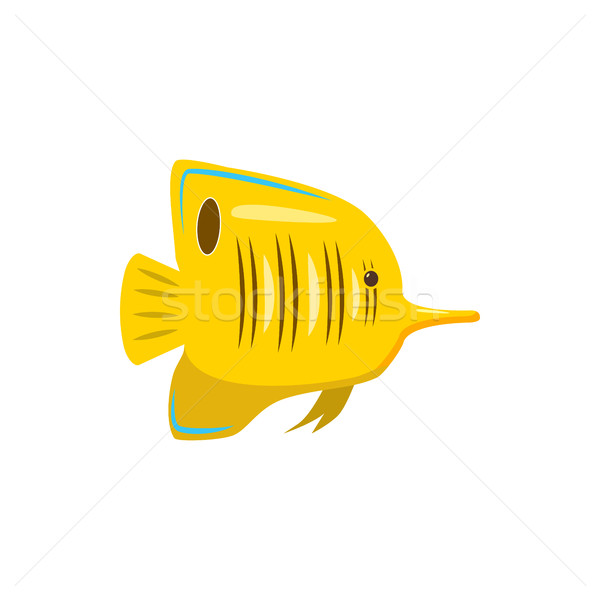 Geel vis icon cartoon stijl witte Stockfoto © ylivdesign