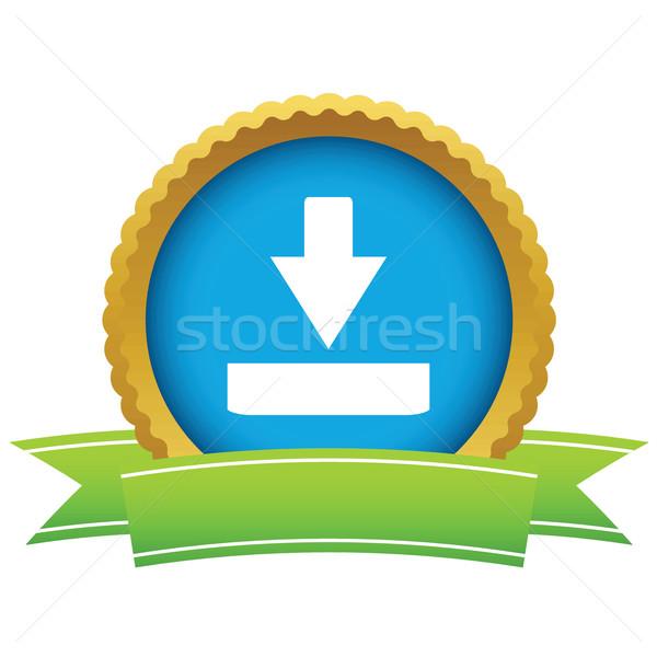 Arany letöltés logo fehér háttér művészet Stock fotó © ylivdesign