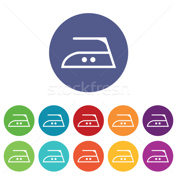 Middle ironing icons colored set Stock photo © ylivdesign