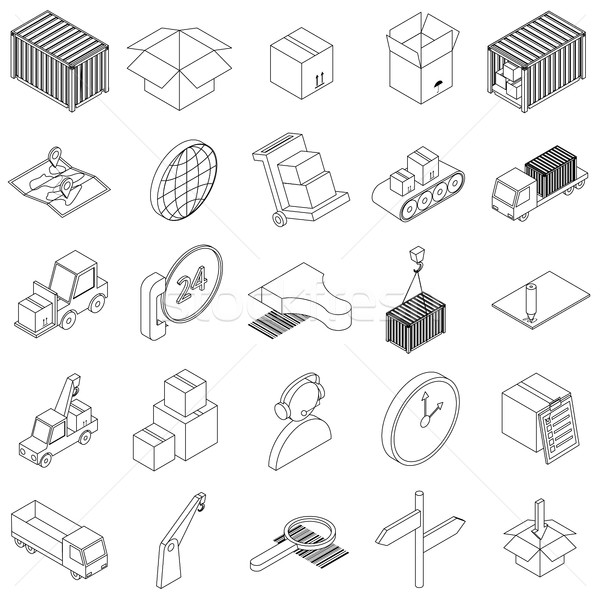 Logistics icons set, isometric 3d style Stock photo © ylivdesign