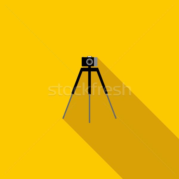 Camera on a tripod icon, flat style Stock photo © ylivdesign