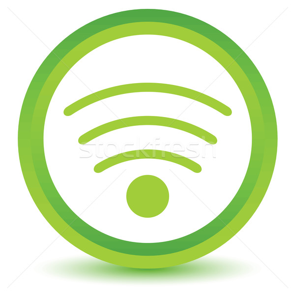Yeşil wifi ikon beyaz Internet Stok fotoğraf © ylivdesign