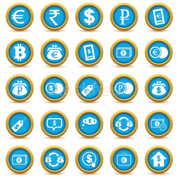 Stock fotó: Pénzügyi · ikon · gyűjtemény · színes · izolált · fehér · keret