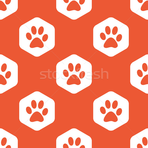 Orange hexagon paw pattern Stock photo © ylivdesign