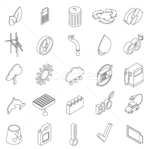 Ecologie ingesteld iconen isometrische 3D stijl Stockfoto © ylivdesign
